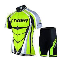 Костюм вело X-Тідег QT/T1616 Shorts Green L футболка короткий рукав+шорти велоформа, фото 1