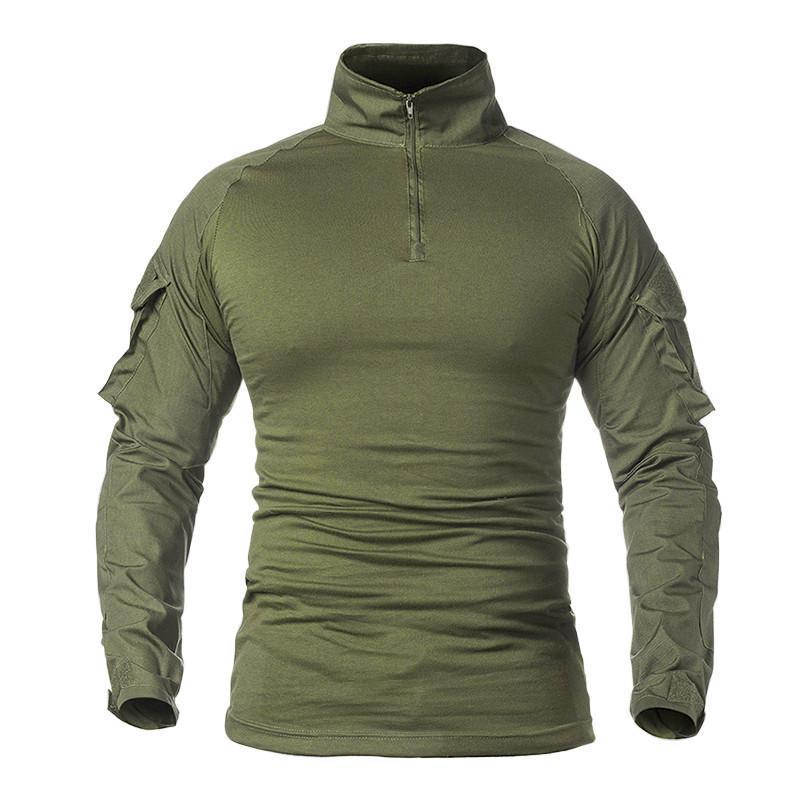 Тактическая рубашка Lesko A655 Green S мужская милитари с длинным рукавом камуфляж армейская