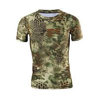 Тактическая футболка с коротким рукавом Lesko A159 Green Kryptek размер XXL мужская армейская