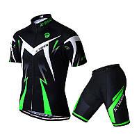 Костюм вело X-Тідег XM-DT-01301 Green M футболка короткий рукав шорти, фото 1