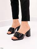 Шлепанцы / сабо женские черные на каблуке 9 см натуральная кожа, фото 2