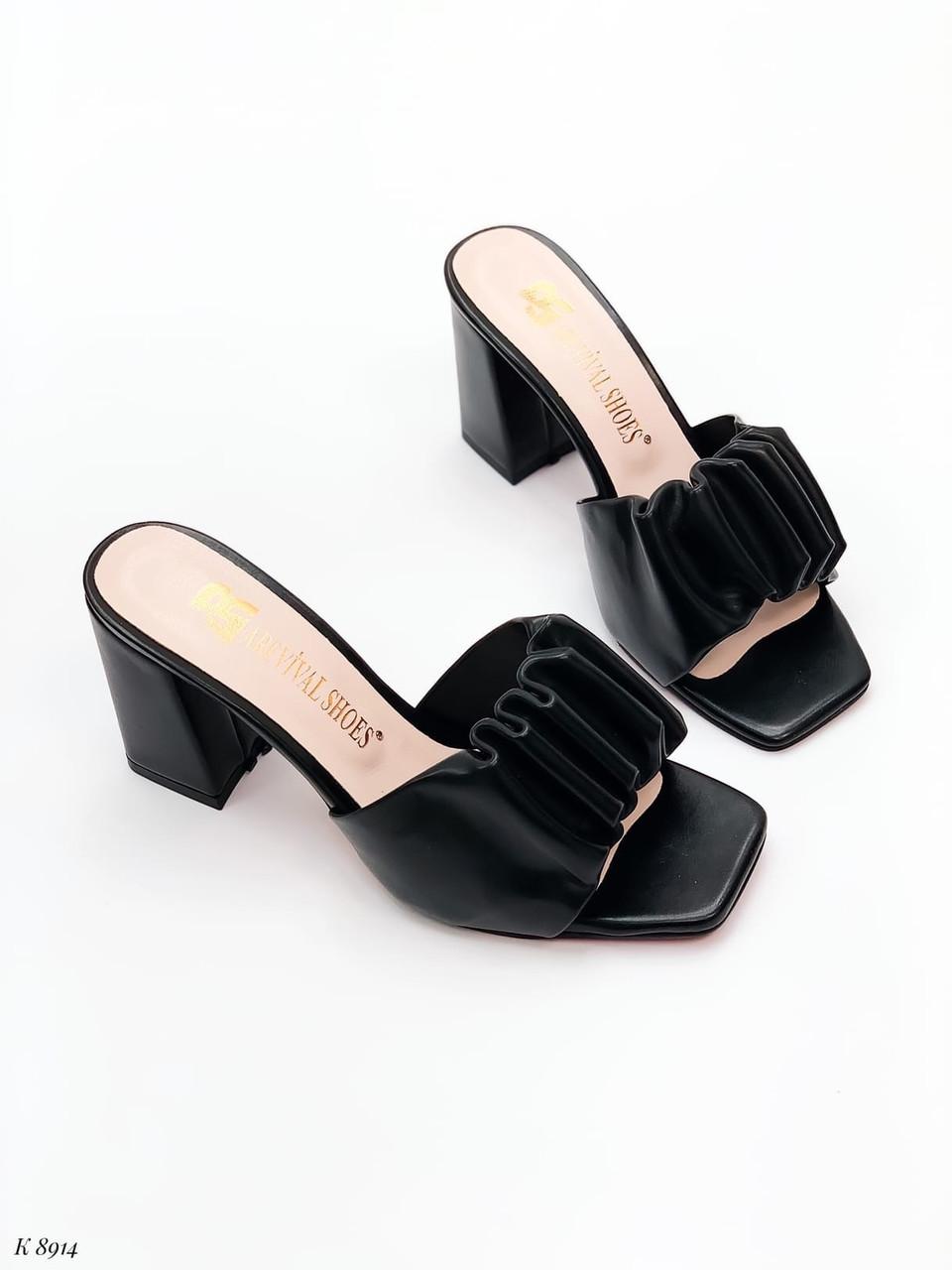 Шлепанцы / сабо женские черные на каблуке 9 см натуральная кожа