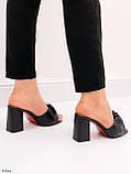 Шлепанцы / сабо женские черные на каблуке 9 см натуральная кожа, фото 7