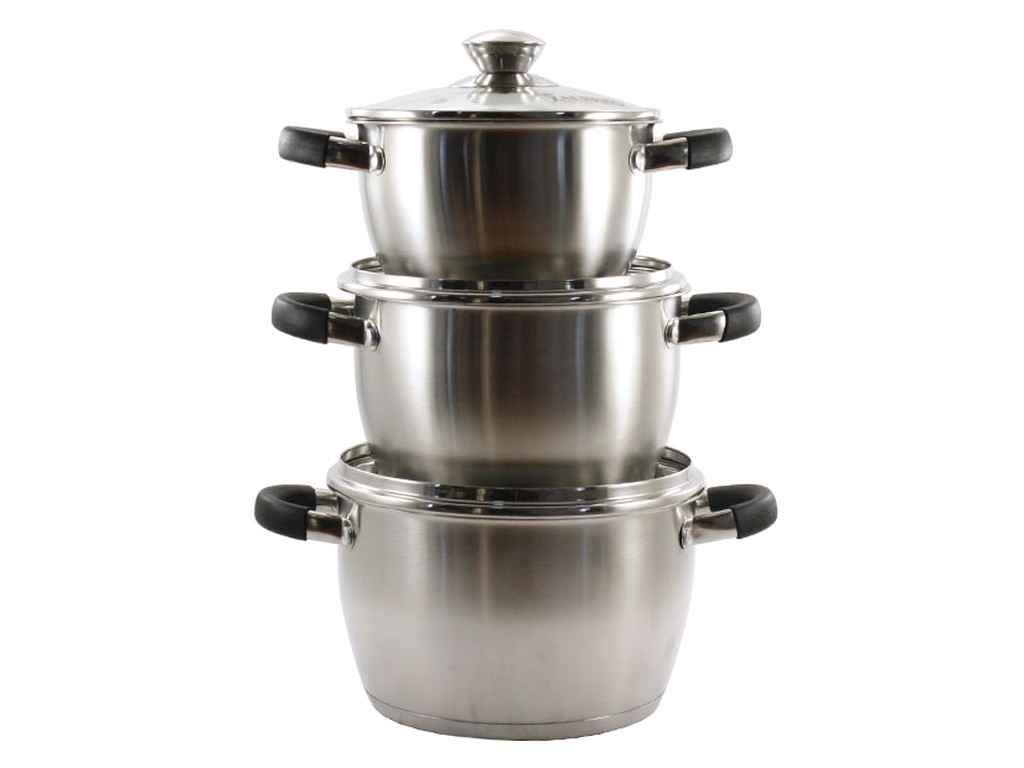 Набір посуд з нерж. сталі 3пр. (1,8/2,4 /3,2 л) BLACK ZB-V234 ТМ ZAUBERG