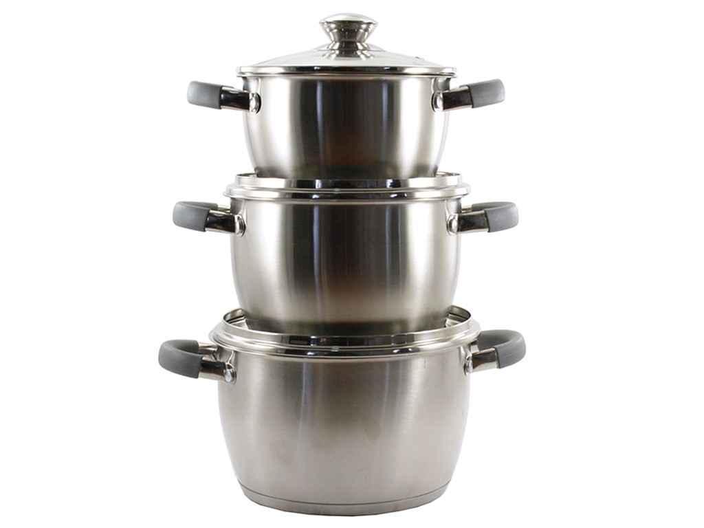 Набор посуды из нержавеющей стали Zauberg GREY 3 шт 1,8л/2,4л/3,2л (ZB-V234 G)