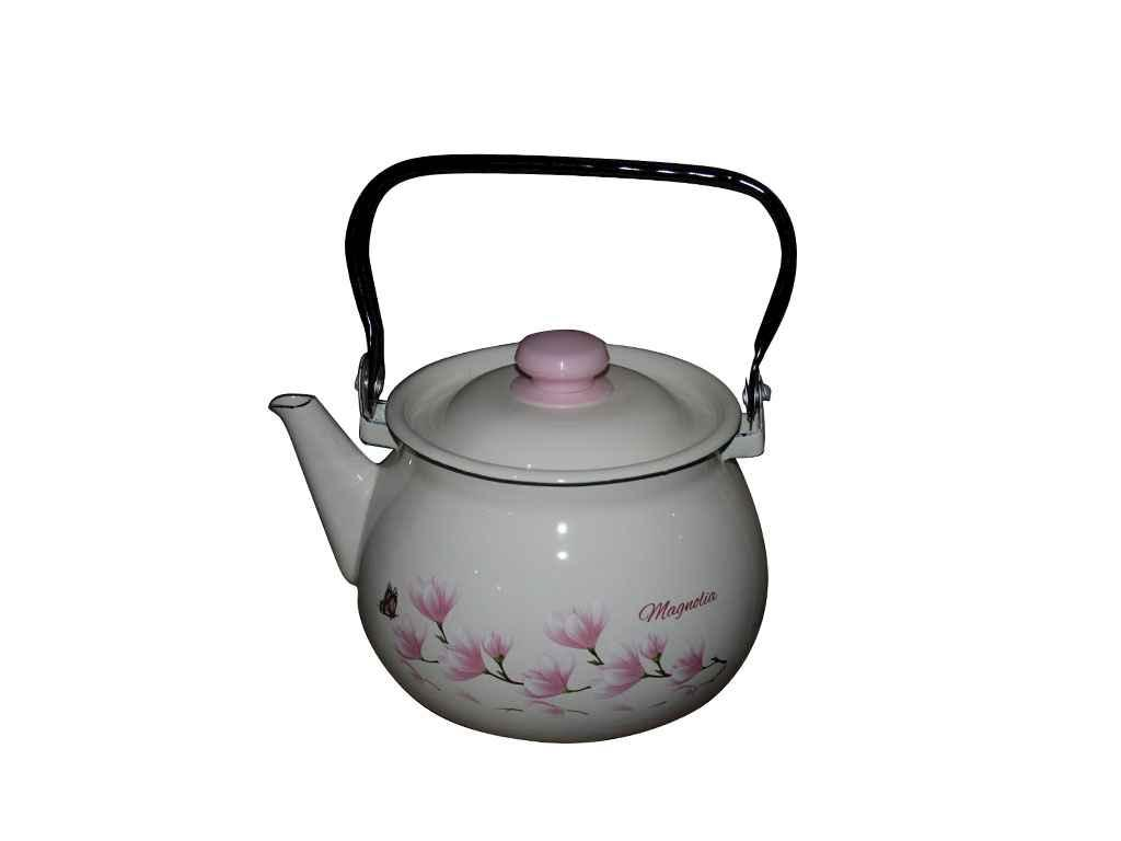 Чайник эмалированный Idilia 2,5 л Магнолия молочный (I2710/2)
