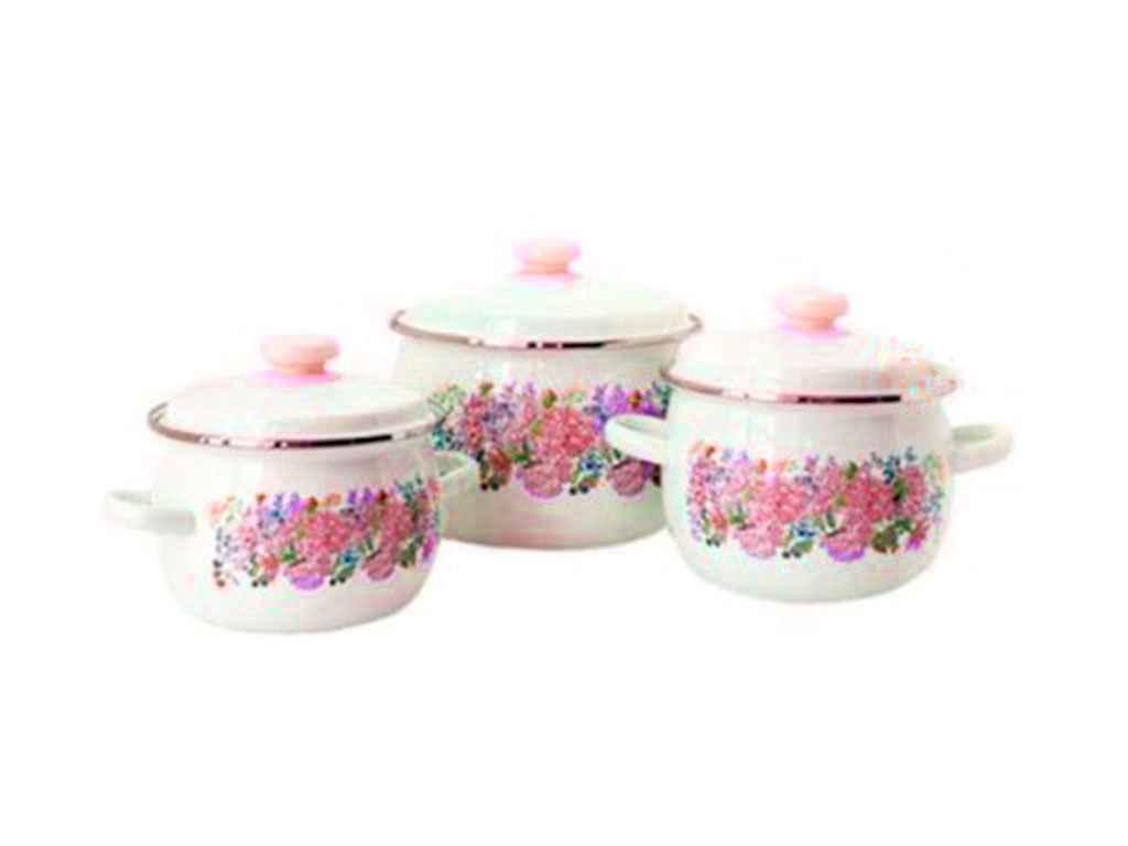 Набор эмалированной посуды Idilia Анабель молочный 3 предмета 2,5л/3,5л/5л (№926)