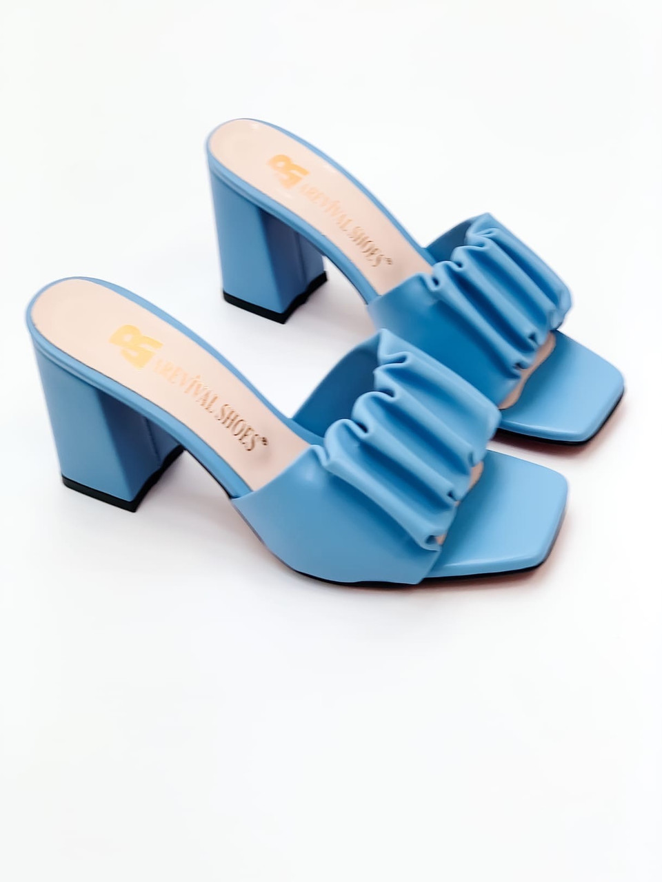Шлепанцы / сабо женские голубые - синие на каблуке 9 см натуральная кожа