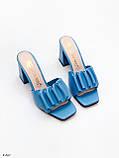 Шлепанцы / сабо женские голубые - синие на каблуке 9 см натуральная кожа, фото 8