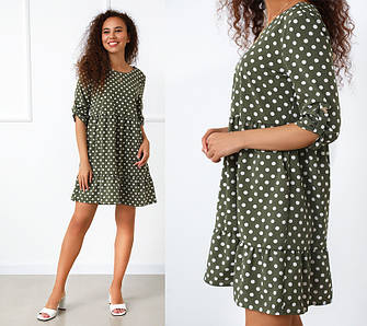 Женское платье в горошек на лето легкое воздушное