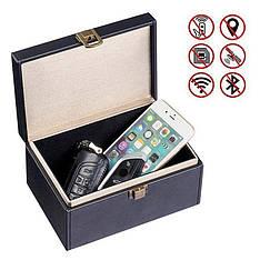 Экранирующая настольная шкатулка Фарадея 18х12х9,5см для телефонов, авто брелков, NFC карт LockerBox RF MAXI