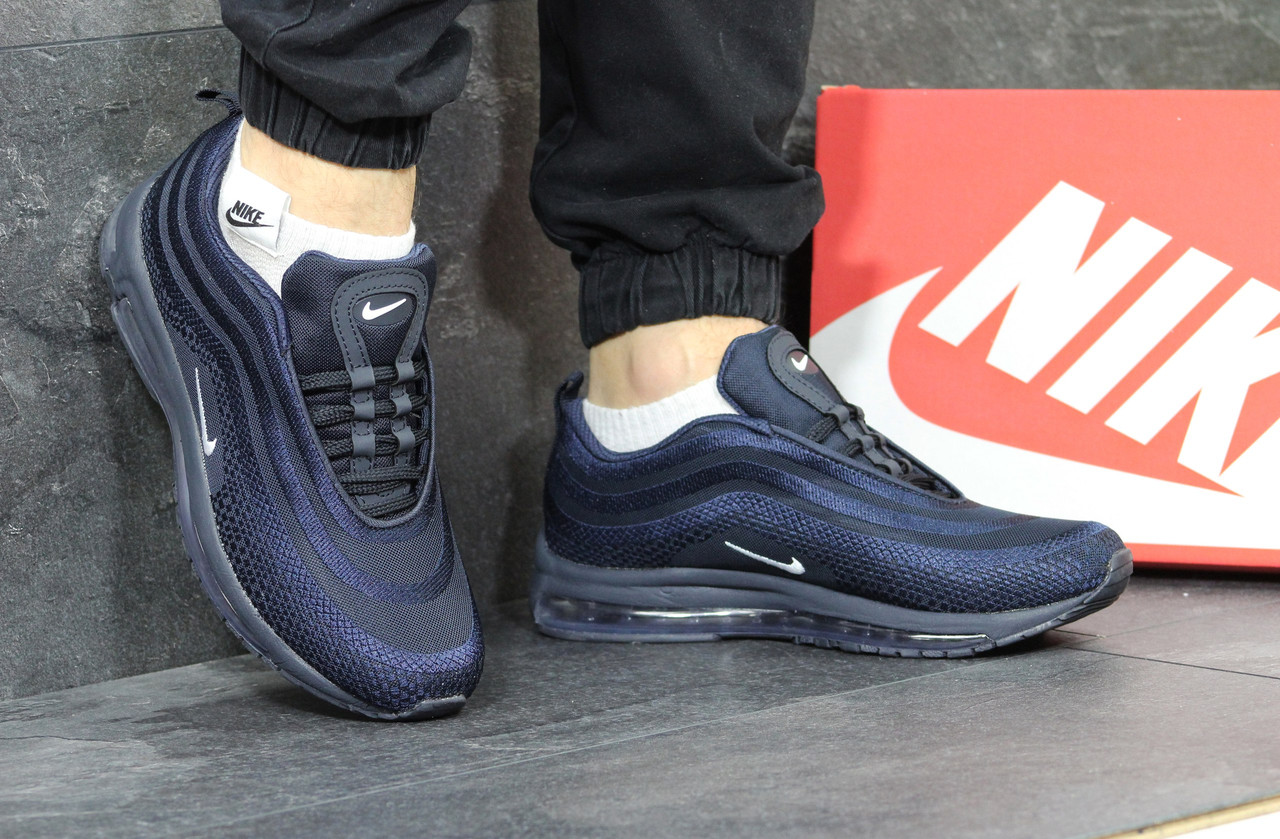 Кроссовки мужские Nike air max 97,темно синие,сетка 43,44р
