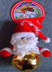 Подвеска шар с мягкой игрушкой Дед Мороз золотой