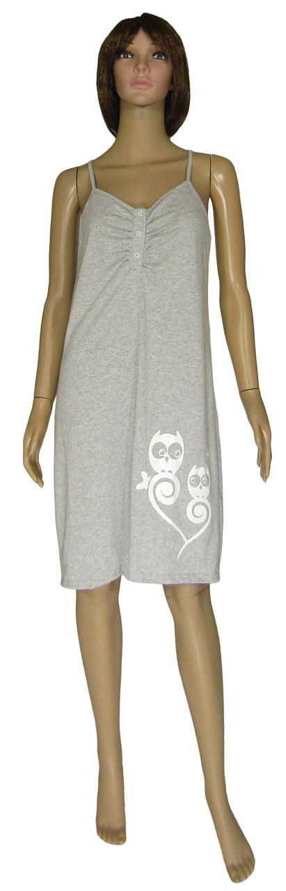 Ночная рубашка женская трикотажная 21019 Совушки коттон Серая