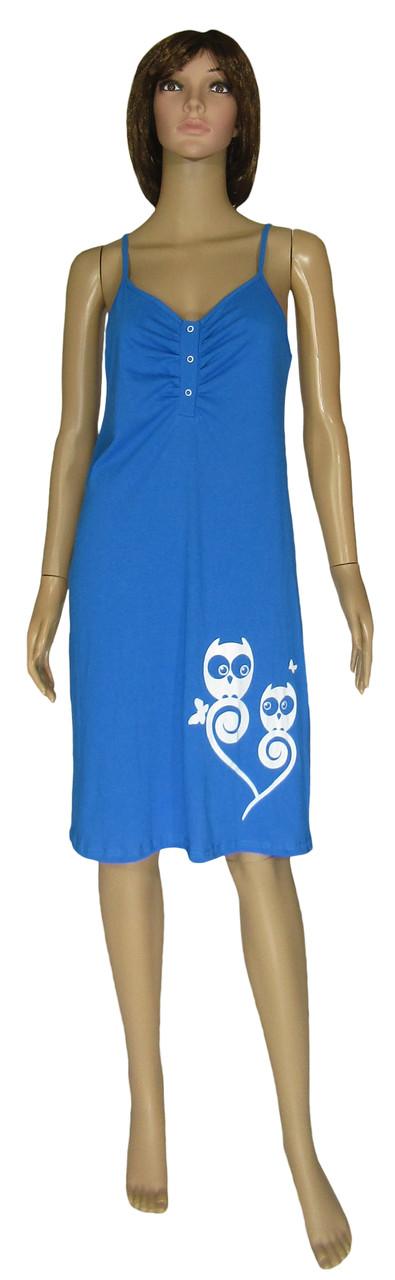 Ночная рубашка женская трикотажная 21019 Совушки коттон Синяя