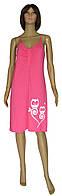 Ночная рубашка женская трикотажная 21019 Совушки коттон Ярко-розовая
