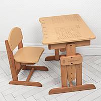Парта ученическая школьная деревянная детская Bambi 04-031BEIGE Бежевый | Алфавит, таблица Пифагора