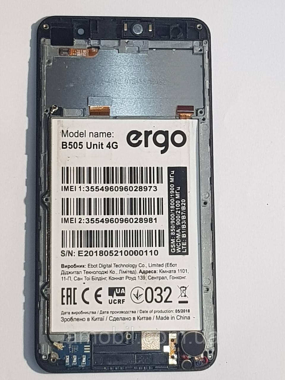 Дисплей + сенсор з рамкою Ergo B504 / B505 Unit 4G / Bravis A509/A510  orig б.у