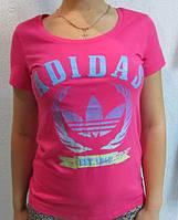 Футболка женская роза  Adidas (2808) код 119д