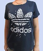 Футболка женская темно-синяя Adidas (321-1) код 104д