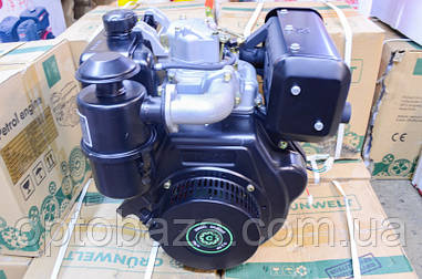 Двигатель Grunwelt DE 186 FBE (вал Шлицы 25 мм, эл/старт) дизель 9,5 л.с.