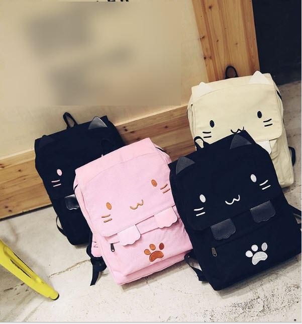 Вместитеьный тканевый рюкзак Кошка