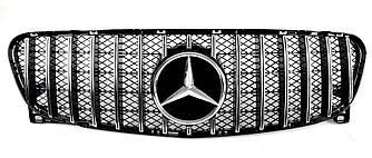 Решетка радиатора Mercedes GLA X156 (14-17) стиль GT Panamericana (черный глянц + хром)