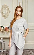 Красивая коттоновая женская медицинская куртка ассиметрия 42-56
