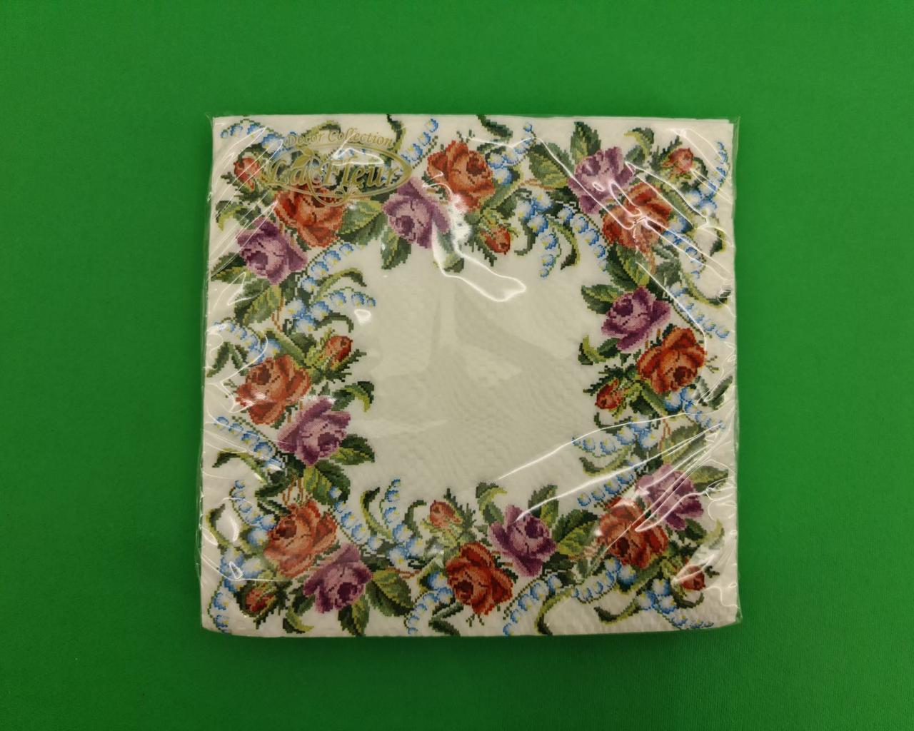 Красивая салфетка (ЗЗхЗЗ, 20шт)  La Fleur  Цветочный венок (1 пач)