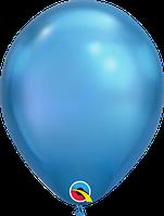 """Куля 11"""" (28 см) Qualatex хром BLUE (синій) 50 од."""