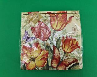Дизайнерська серветка (ЗЗхЗЗ, 20шт) Luxy Звабливий аромат тюльпанів (2055) (1 пач.)