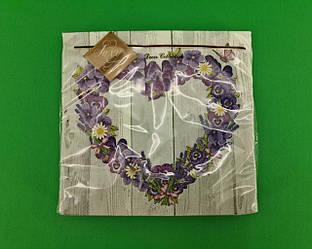 Дизайнерская салфетка (ЗЗхЗЗ, 20шт) Luxy  Цветочное сердце (2091) (1 пач)