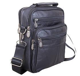 Кожаная мужская сумка через плечо вместительная барсетка из кожи 8s40202 черная Польша