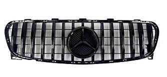 Решетка радиатора Mercedes GLA X156 (18-19) стиль AMG GT Panamericana (черная)