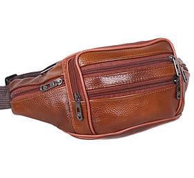 Бананка кожаная сумка на пояс светло коричневая Польша