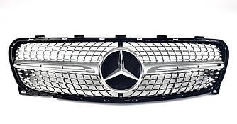 Решетка радиатора Mercedes GLA X156 (18-19) стиль AMG Diamond (серебро)