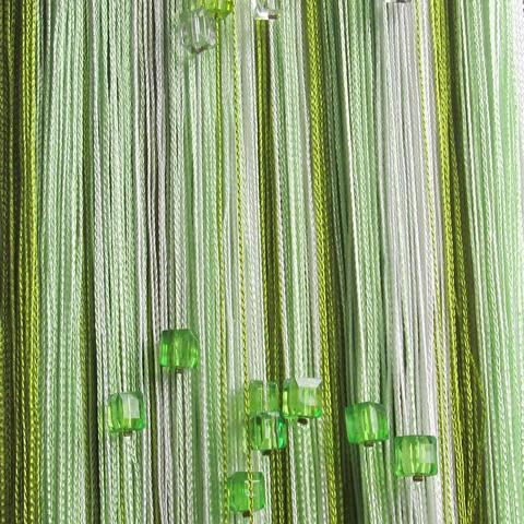 Штори нитки Веселка 3х3м Білий Зелений Оливковий з квадратним стеклярусом
