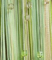 Штори нитки Веселка 3х3м Молочний Салатовий Оливковий з квадратним стеклярусом