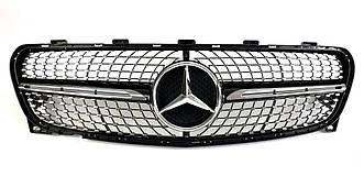 Решетка радиатора Mercedes GLA X156 (18-19) стиль AMG Diamond (черная + хром)