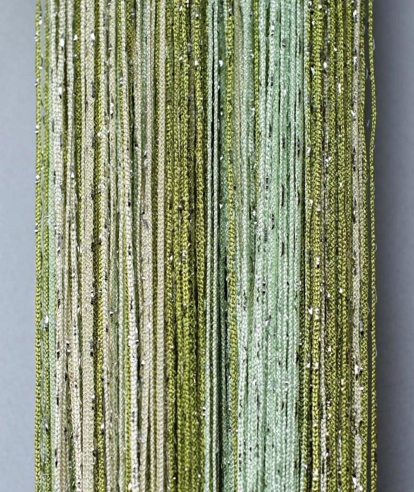 Штори нитки Веселка Дощ серпанок 3х3м Молочний Салатовий Оливковий з люрексом