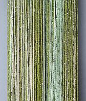 Штори нитки Веселка Дощ серпанок 3х3м Молочний Салатовий Оливковий з люрексом, фото 1