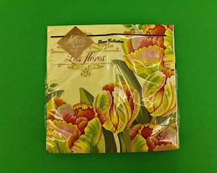 Дизайнерська серветка (ЗЗхЗЗ, 20шт) Luxy Барвистий колір тюльпанів (2085) (1 пач.)