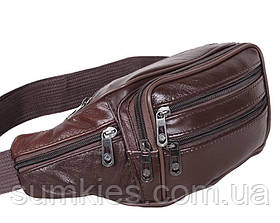 Кожаная сумка мужская на пояс бананка поясная из натуральной кожи 7 карманов кожа 8R3 Brown Польша