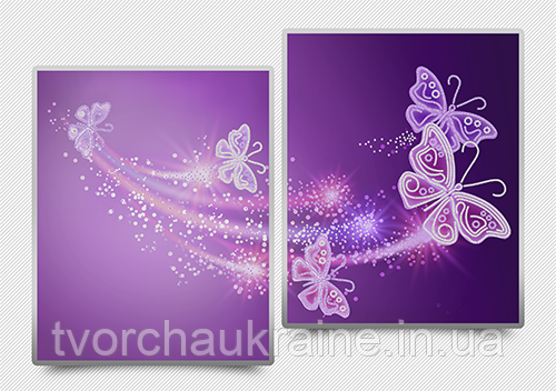 """Схемы для вышивки бисером """"Ажурные бабочки"""" (фиолетовый)"""