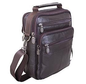 Мужская кожаная сумка через плечо кожа барсетка из кожи 8s40202 коричневая Польша