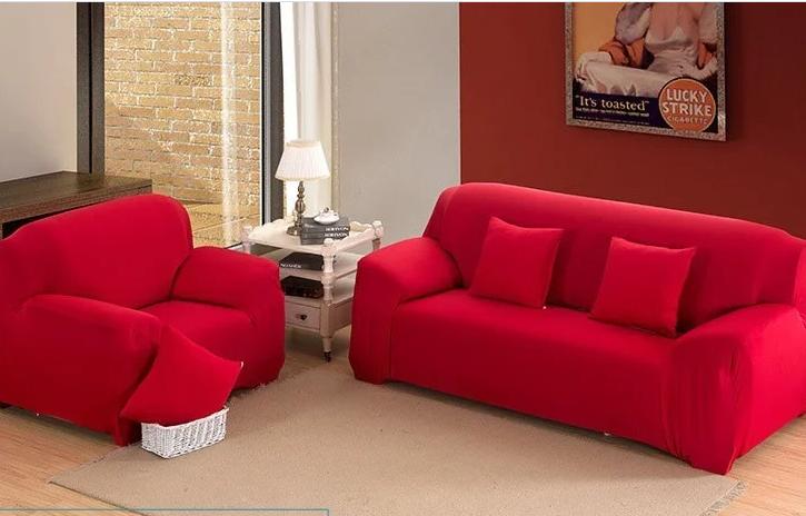 Натяжні чохли на дивани і крісла накидки, безрозмірні чохли на м'які меблі біфлекс Homytex Червоний