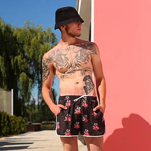 Пляжные Мужские шорты коричневые с принтом