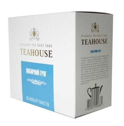 Чай Teahouse (Тиахаус) Имбирный грог пакетированный 20*5г (Tea Teahouse Ginger grog packed 20*5г)