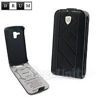 Brum Premium Кожаный чехол для Samsung Galaxy S duos S7562 / S7580 (No.26 black), фото 1
