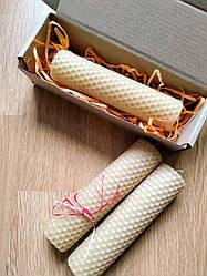 Свечи из вощины ручной работы в подарочной упаковке h21 см d3.2 см. Свечи из пчелиного воска ручной работы
